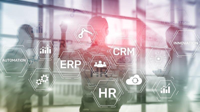 ERP, conceito da inovação do negócio no fundo borrado ilustração stock