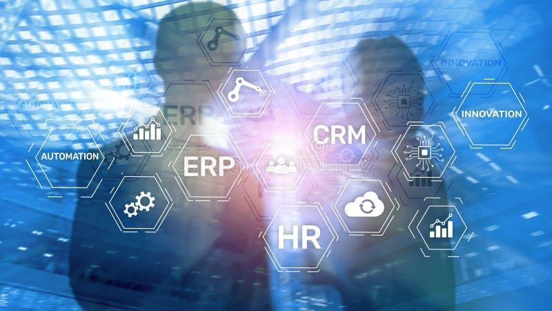 ERP, concepto de la innovación del negocio en fondo borroso imagen de archivo