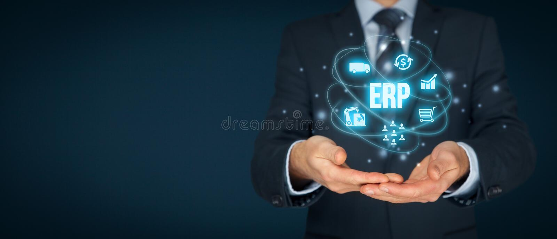 ERP de las hojas de operación (planning) del recurso de la empresa imagen de archivo