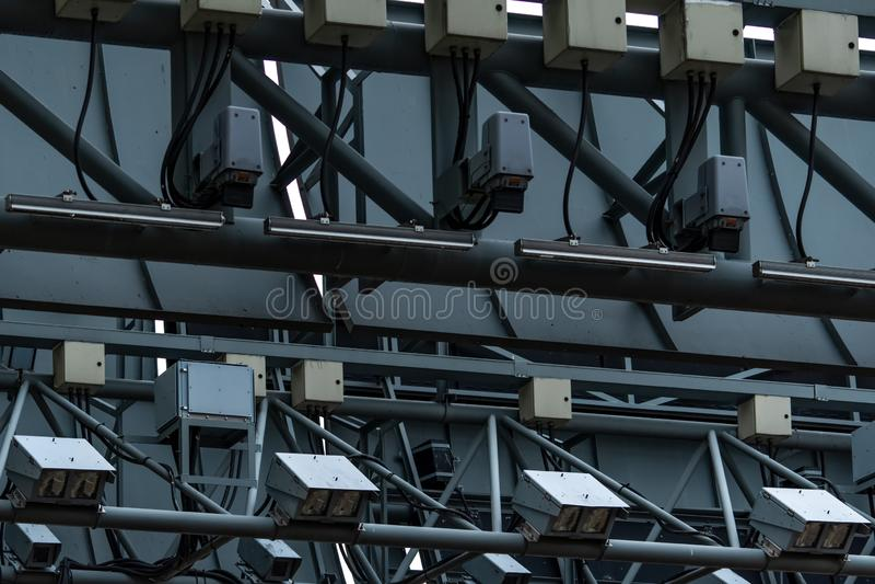 ERP electrónico de la tarificación por el uso de la infraestructura viaria o colección electrónica del peaje en Singapur para man imagen de archivo