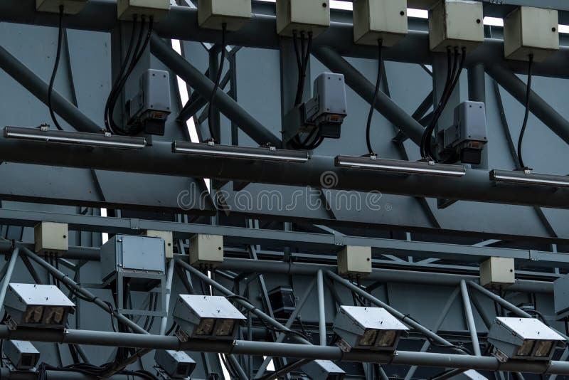 ERP elettronico di pedaggio urbano o raccolta elettronica del tributo a Singapore per dirigere traffico mediante il pedaggio urba immagine stock