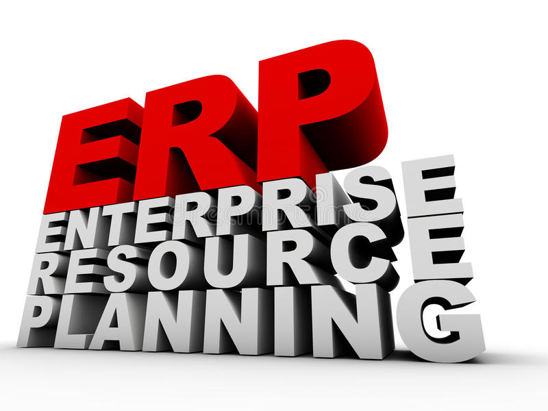 ERP Enterprise Resource Planning. Over white background stock illustration