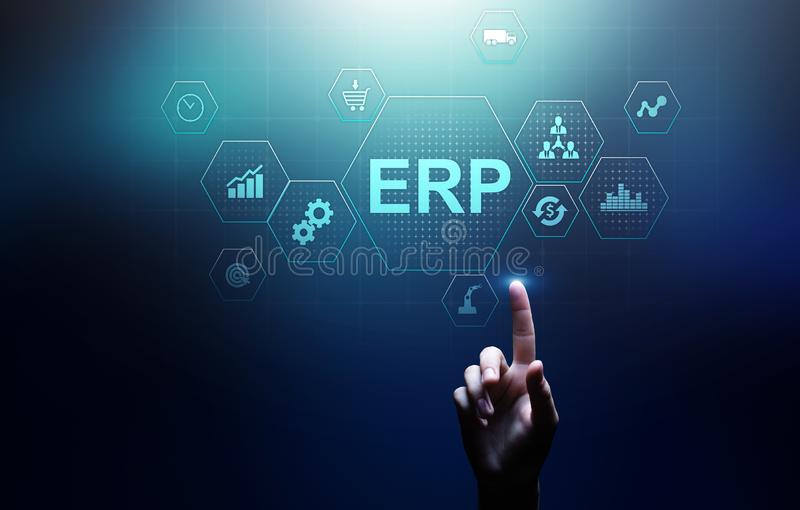 ERP - Enterprise resource planning business and modern technology concept on virtual screen. ERP - Enterprise resource planning business and modern technology stock photo