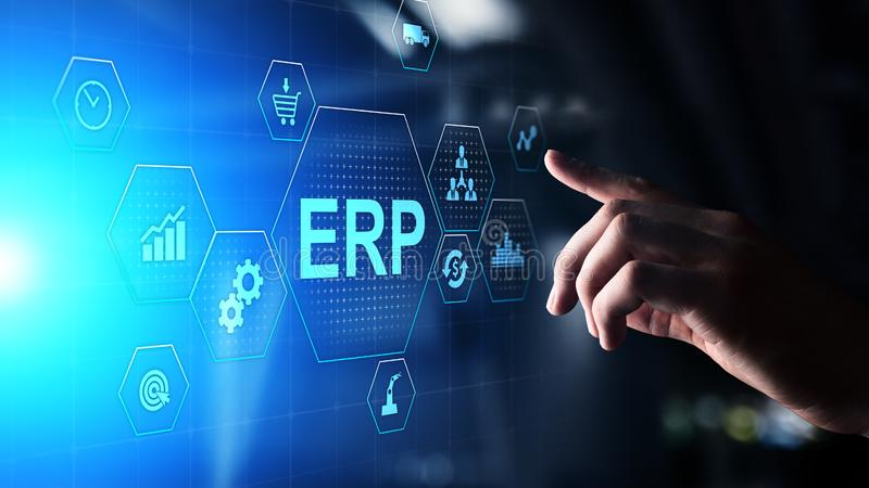 ERP - Enterprise resource planning business and modern technology concept on virtual screen. royalty free stock images