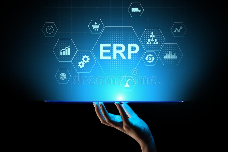 ERP - Enterprise resource planning business and modern technology concept on virtual screen. royalty free stock photo