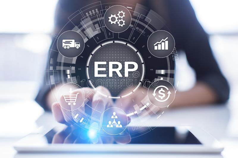 ERP - Enterprise resource planning business and modern technology concept on virtual screen. royalty free stock image