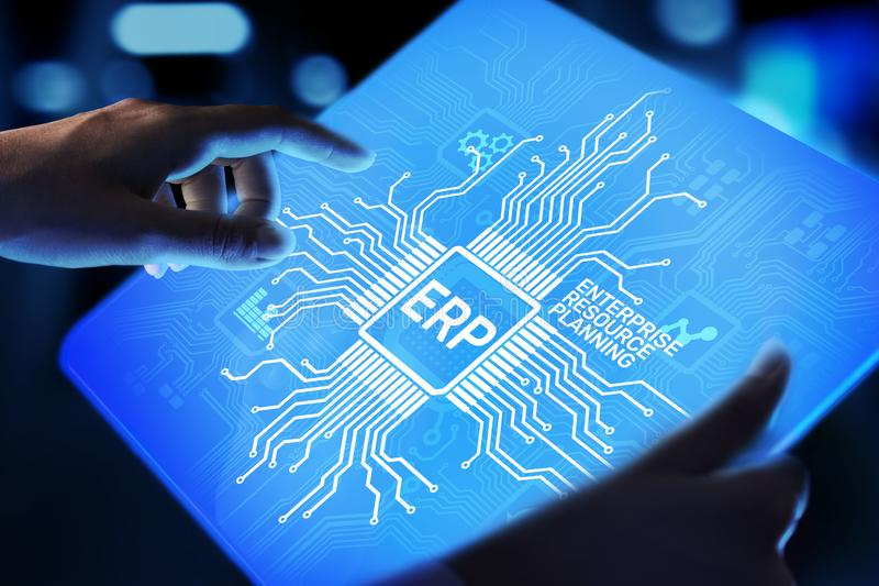 ERP - Enterprise resource planning business and modern technology concept on virtual screen. stock photos