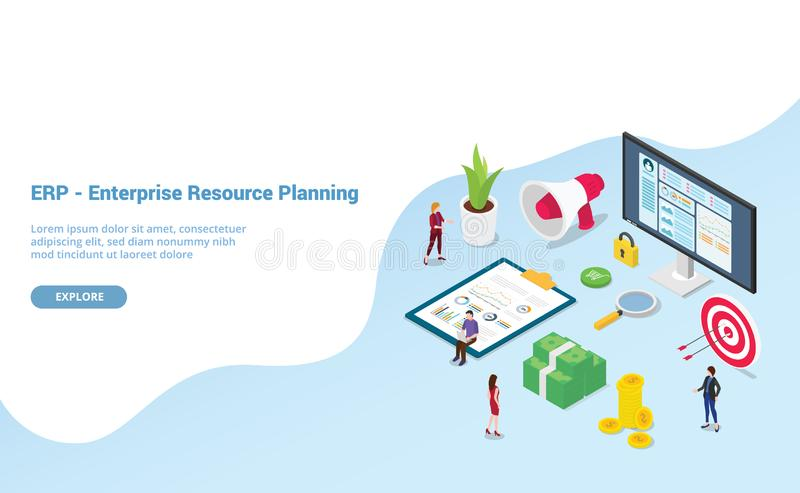 Erp enterprise resource planning concept with team people and asset company with modern isometric style for website template or royalty free illustration