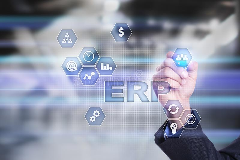 ERP - Enterprise resource planning corporate system concept on virtual screen. stock photos