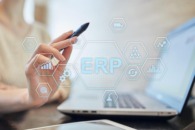 ERP - Enterprise resource planning corporate system concept on virtual screen. royalty free stock images