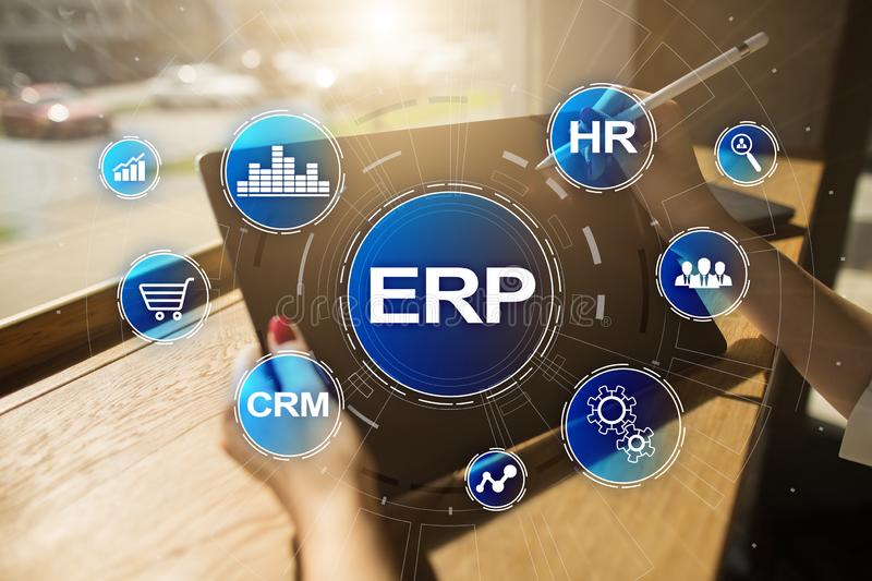 ERP - Enterprise resource planning corporate system concept on virtual screen. royalty free stock photos