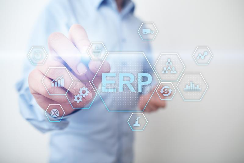 ERP - Enterprise resource planning corporate system concept on virtual screen. stock image