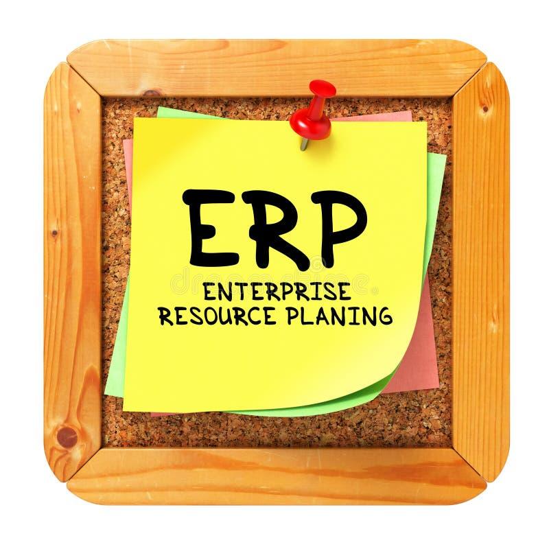 ERP. Etiqueta engomada amarilla en boletín. imágenes de archivo libres de regalías