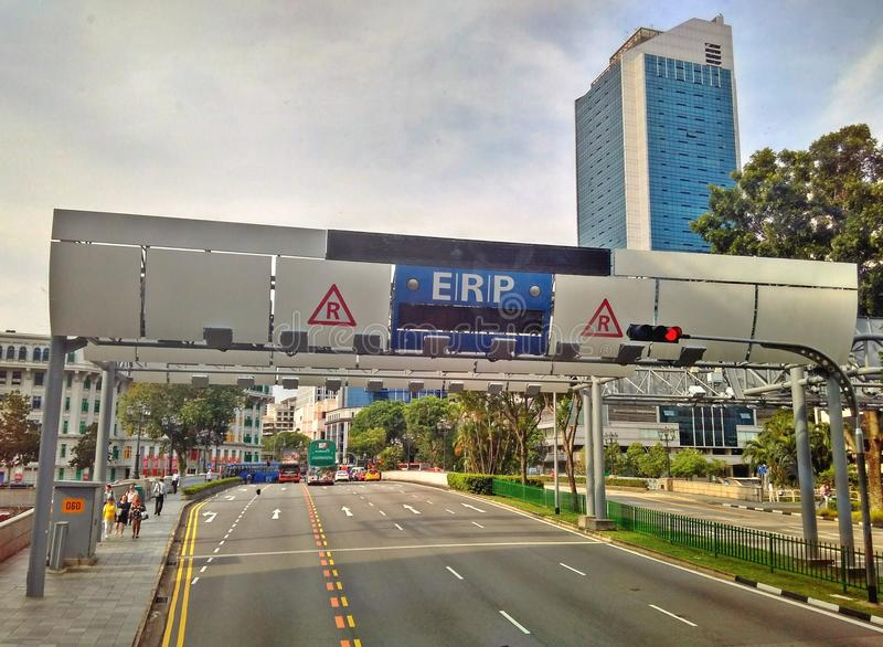 ERP gantry in Singapore. An Electronic Road Pricing (ERP) gantry at Clarke Quay area in the city centre of Singapore stock photos