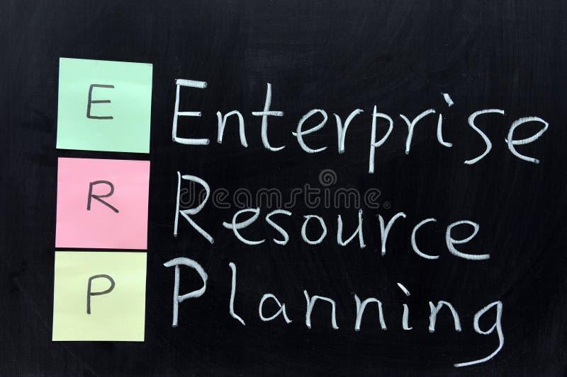 ERP, hojas de operación (planning) del recurso de la empresa imagen de archivo