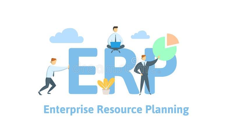 ERP, hojas de operación (planning) del recurso de la empresa Productividad y mejora Tabla del concepto con la gente, las letras y stock de ilustración