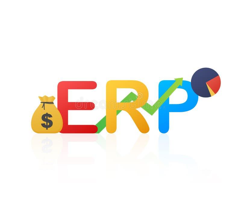 ERP, hojas de operaci?n (planning) del recurso de la empresa Productividad y mejora Ilustraci?n del vector ilustración del vector