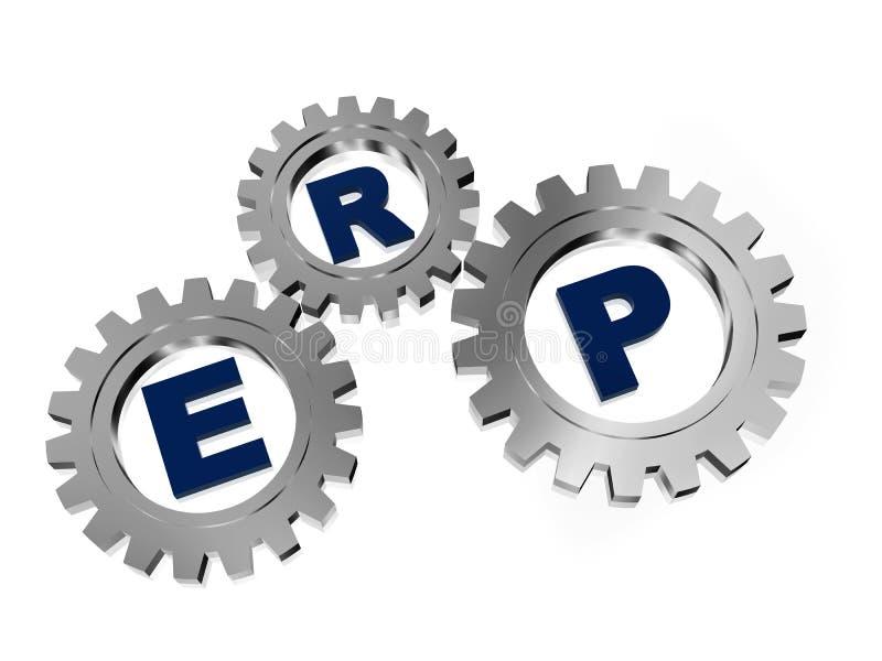 ERP in ingranaggi d'argento del metallo illustrazione di stock