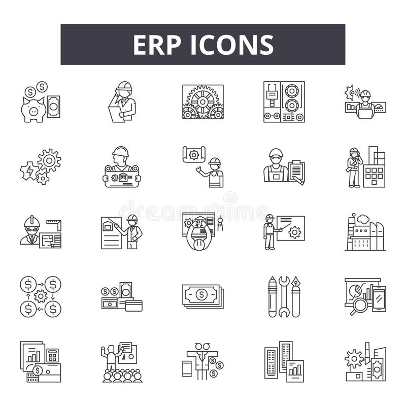 Erp line icons, signs, vector set, outline illustration concept royalty free illustration