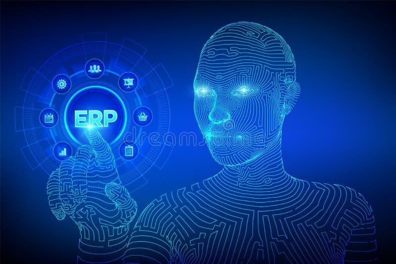 Erp Negócio do planeamento do recurso da empresa e conceito moderno da tecnologia na tela virtual Negócio da gestão de Incorporad ilustração do vetor