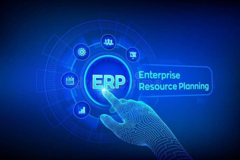 ERP Negocio del planeamiento del recurso de la empresa y concepto moderno de la tecnología en la pantalla virtual Negocio de la g stock de ilustración