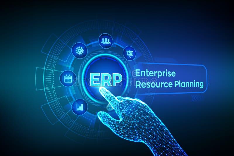 ERP Negocio del planeamiento del recurso de la empresa y concepto moderno de la tecnología en la pantalla virtual Negocio de la g libre illustration