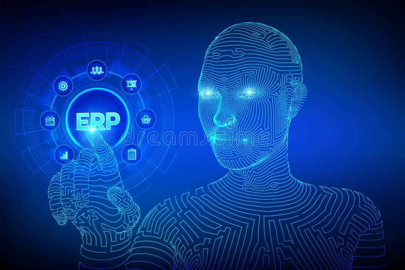 ERP Negocio del planeamiento del recurso de la empresa y concepto moderno de la tecnología en la pantalla virtual Negocio de la g ilustración del vector