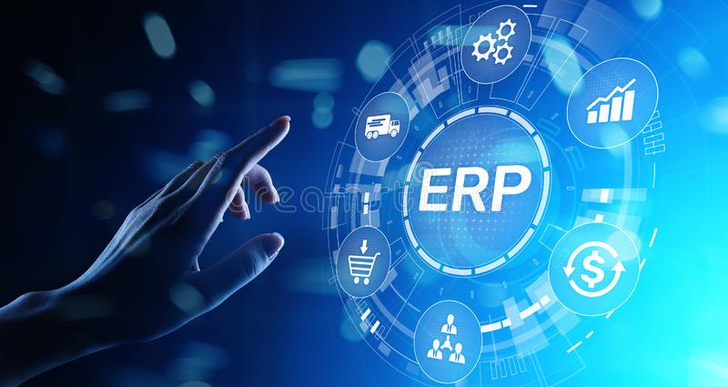 ERP - Negocio del planeamiento del recurso de la empresa y concepto moderno de la tecnolog?a en la pantalla virtual foto de archivo libre de regalías