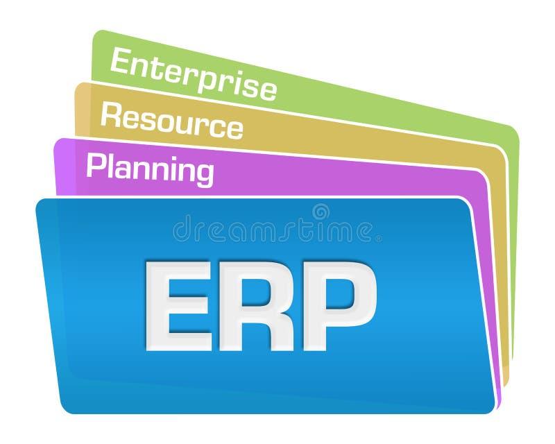 ERP - Pilha colorida dos quadrados do texto do planeamento do recurso da empresa ilustração do vetor
