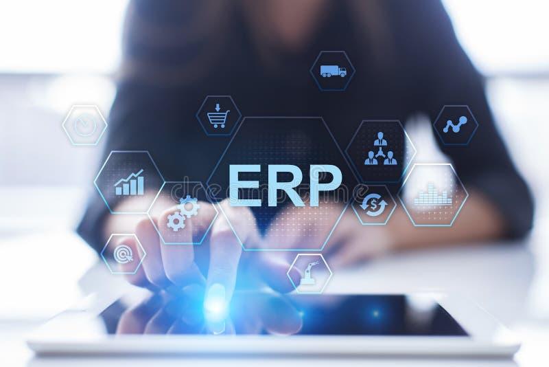 ERP - Recurso da empresa que planeia o conceito de sistema incorporado na tela virtual fotos de stock
