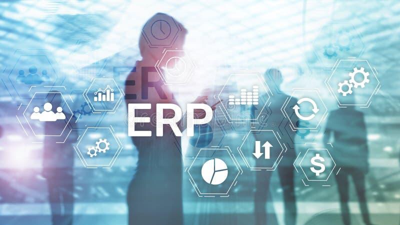 ERP systeem, Ondernemingsmiddel planning op vage achtergrond Bedrijfsautomatisering en innovatieconcept stock fotografie