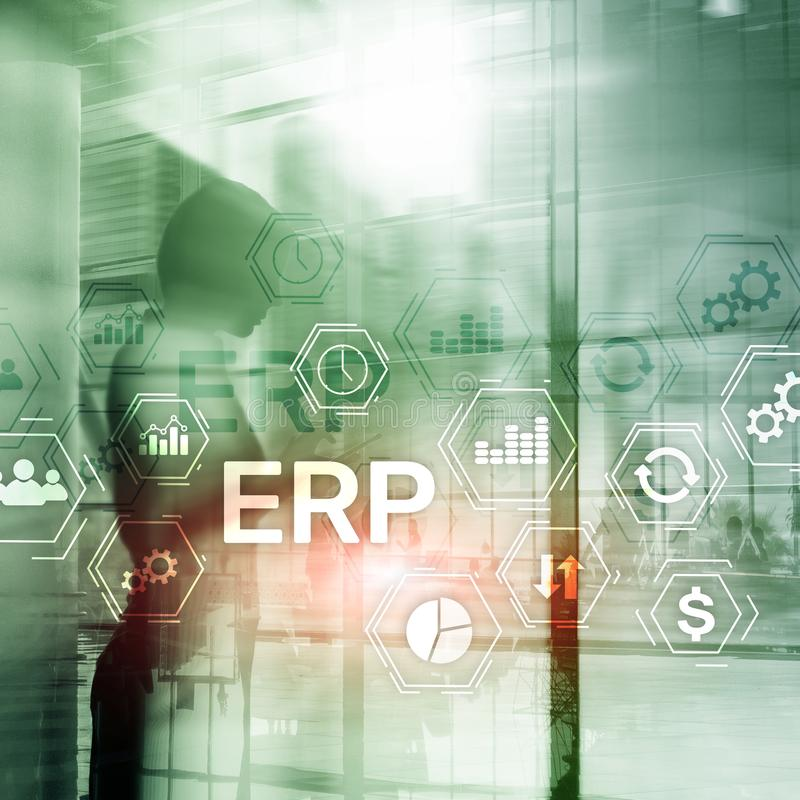 ERP system, Enterprise resource planning on blurred background. Busiess automation and innovation concept. stock photography