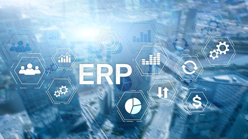 ERP system, Enterprise resource planning on blurred background. Business automation and innovation concept royalty free stock images