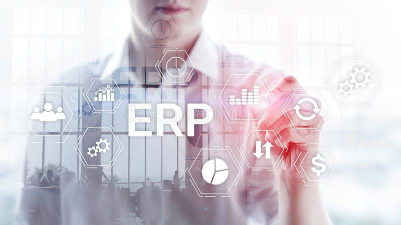 ERP system, Enterprise resource planning on blurred background. Business automation and innovation concept royalty free stock photos