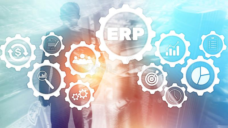 ERP system, Enterprise resource planning on blurred background. Business automation and innovation concept. vector illustration