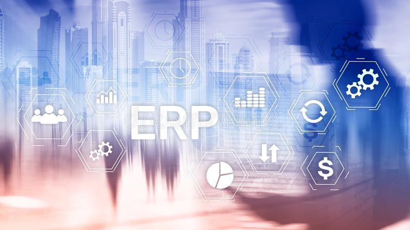 ERP system, Enterprise resource planning on blurred background. Business automation and innovation concept royalty free stock photography