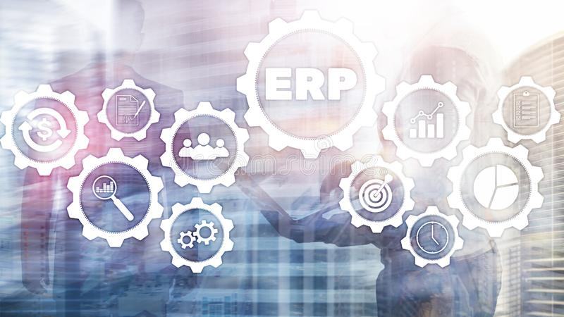 ERP system, Enterprise resource planning on blurred background. Business automation and innovation concept. royalty free stock image