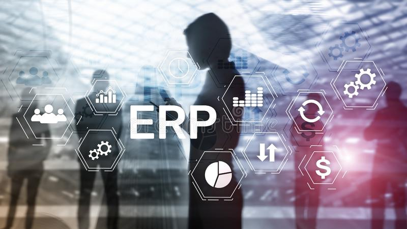 ERP system, Enterprise resource planning on blurred background. Business automation and innovation concept. girl with a royalty free stock photos