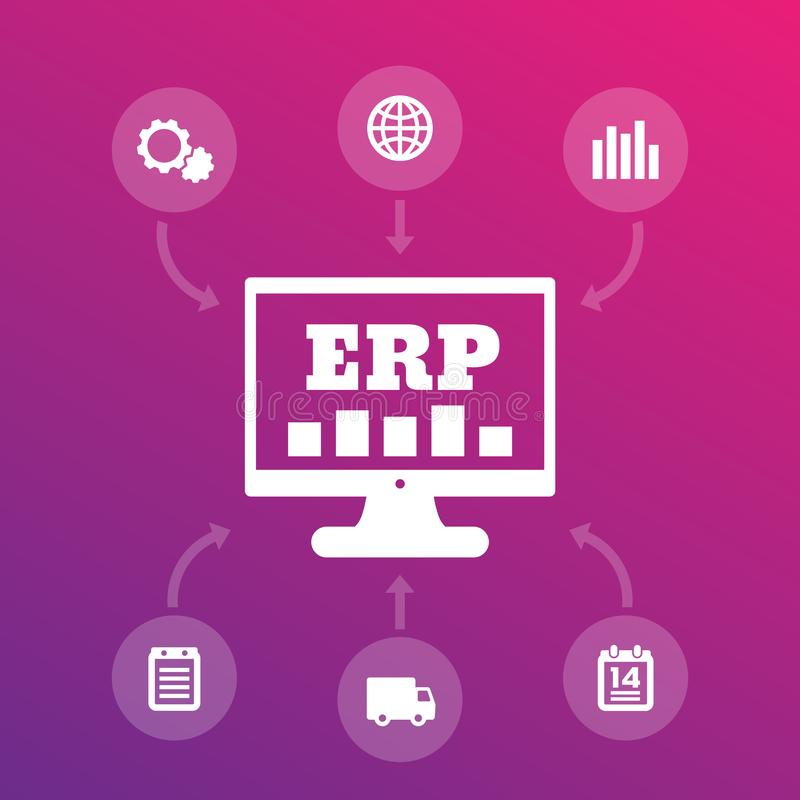 ERP system icons, enterprise resource planning. Eps 10 file, easy to edit vector illustration