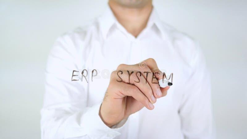 ERP system, mężczyzna Writing na szkle zdjęcia stock