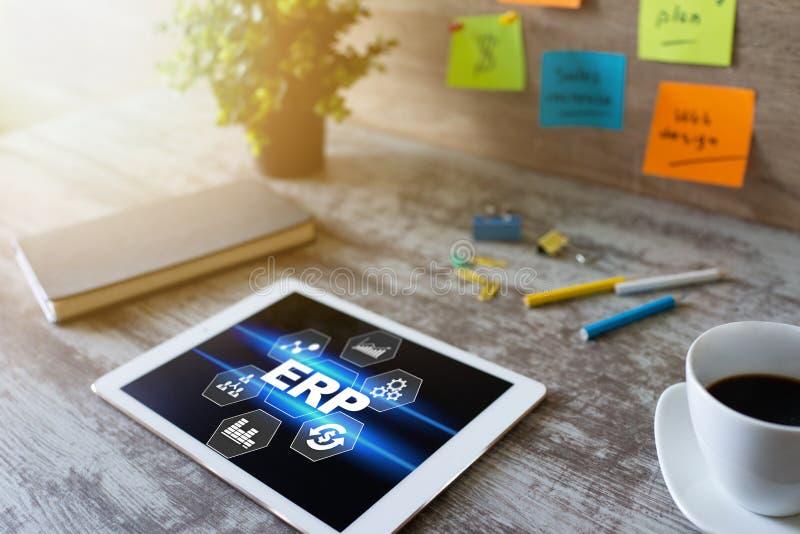 Erp system Przedsięwzięcie zasobów planować Rozwój biznesu automatyzacja obraz royalty free