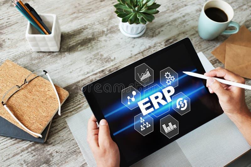 Erp system Przedsięwzięcie zasobów planować Rozwój biznesu automatyzacja obrazy royalty free