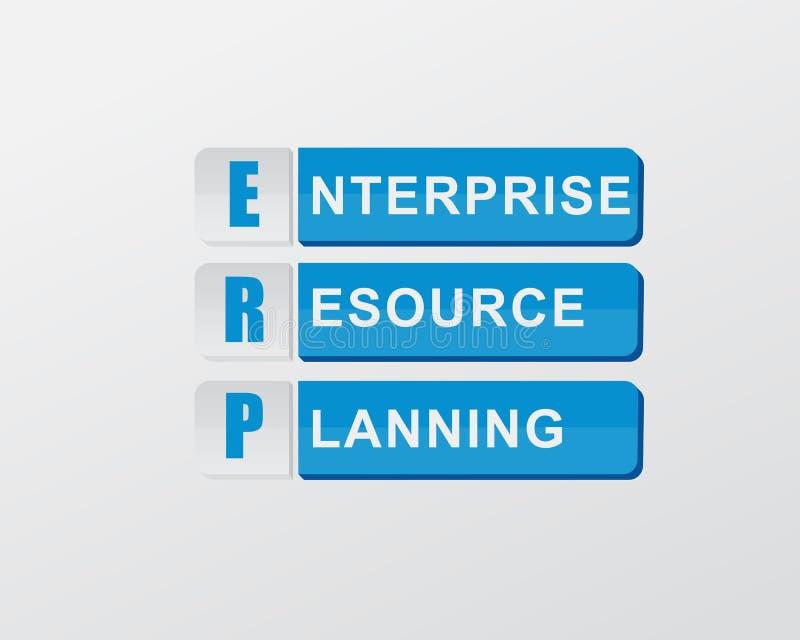 ERP w błękitów blokach, płaski projekt ilustracji