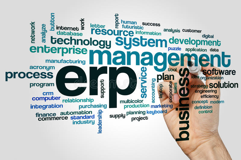ERP word cloud concept on grey background royalty free stock image