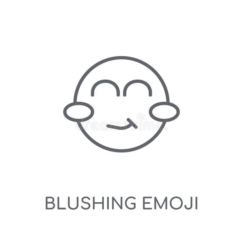 Errötende emoji lineare Ikone Moderner Entwurf errötendes emoji Logo c stock abbildung