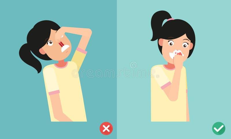 Errado e direito para primeiros socorros para o sangramento nasal ilustração royalty free