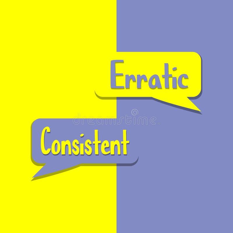 Erratique ou cohérent sur le mot sur la motivation d'éducation, d'inspiration et d'affaires illustration de vecteur