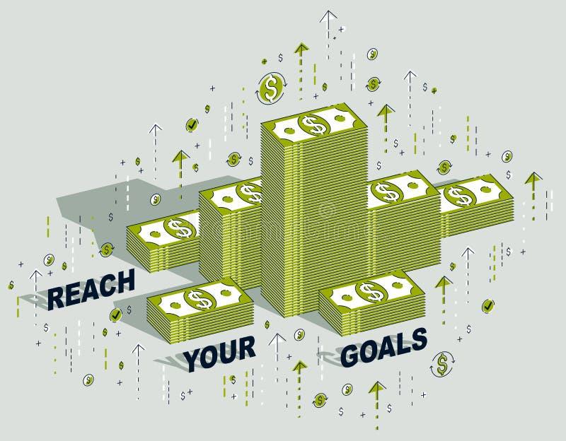 Erreichen Sie Ihr Zielgeschäfts-Motivationsplakat oder Fahne, Bargeld mone vektor abbildung