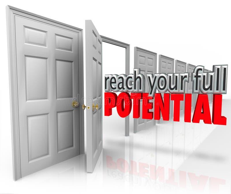 Erreichen Sie Ihre der Wort-offenen Tür des vollen Potenzials 3d Gelegenheit stock abbildung