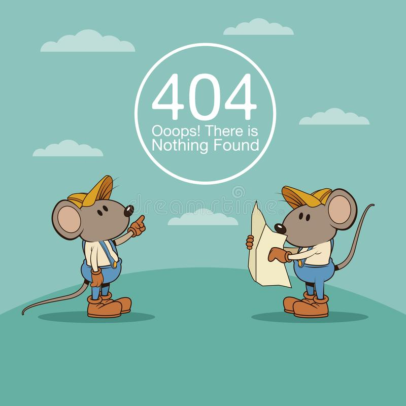 Erreur 404 avec la bande dessinée drôle de mouses illustration de vecteur